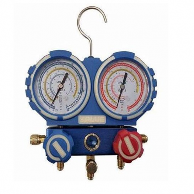 Manometro Analizador 2 Vias Aluminio Anticolision 80mm Con Visor R410A, R407C, R404, R134